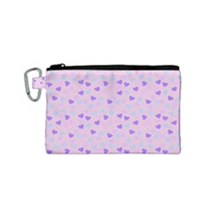 Blue Pink Hearts Canvas Cosmetic Bag (small) by snowwhitegirl