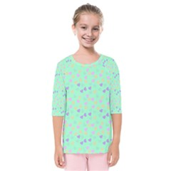 Minty Hearts Kids  Quarter Sleeve Raglan Tee