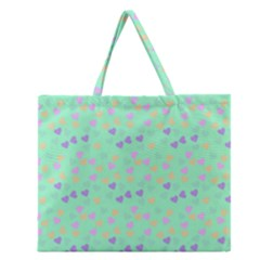 Minty Hearts Zipper Large Tote Bag by snowwhitegirl
