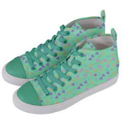Minty Hearts Women s Mid Top Canvas Sneakers by snowwhitegirl