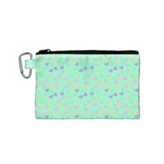 Minty Hearts Canvas Cosmetic Bag (small) by snowwhitegirl
