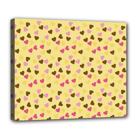 Beige Hearts Deluxe Canvas 24  X 20