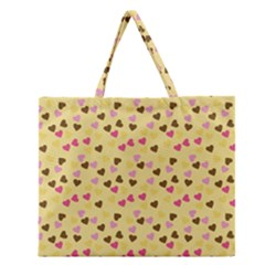 Beige Hearts Zipper Large Tote Bag