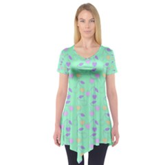 Mint Heart Cherries Short Sleeve Tunic  by snowwhitegirl
