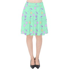 Mint Heart Cherries Velvet High Waist Skirt by snowwhitegirl