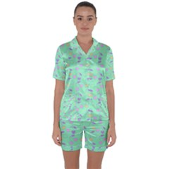 Mint Heart Cherries Satin Short Sleeve Pyjamas Set by snowwhitegirl