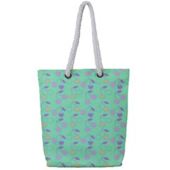 Mint Heart Cherries Full Print Rope Handle Tote (small) by snowwhitegirl