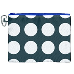 Big Dot Teal Blue Canvas Cosmetic Bag (xxl) by snowwhitegirl