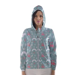 Music Stars Sky Blue Hooded Wind Breaker (women)