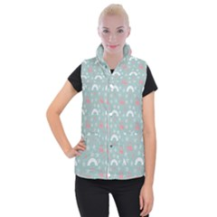 Music Stars Sky Blue Women s Button Up Puffer Vest