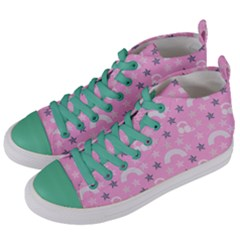 Music Star Pink Women s Mid Top Canvas Sneakers by snowwhitegirl