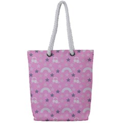 Music Star Pink Full Print Rope Handle Tote (small) by snowwhitegirl