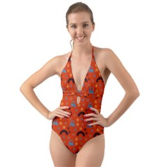 Music Stars Red Halter Cut-out One Piece Swimsuit by snowwhitegirl