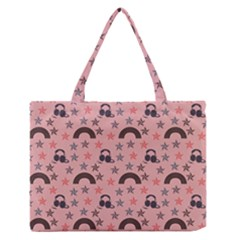 Music Stars Peach Zipper Medium Tote Bag by snowwhitegirl