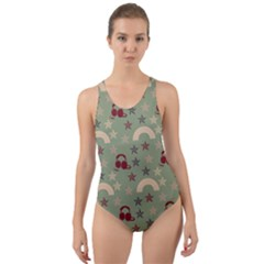 Music Stars Green Cut Out Back One Piece Swimsuit