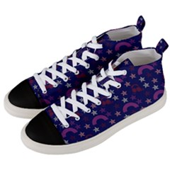 Music Stars Navy Men s Mid Top Canvas Sneakers by snowwhitegirl