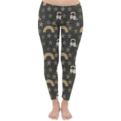 Music Stars Grey Classic Winter Leggings by snowwhitegirl