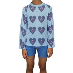 Cupcake Heart Teal Blue Kids  Long Sleeve Swimwear by snowwhitegirl