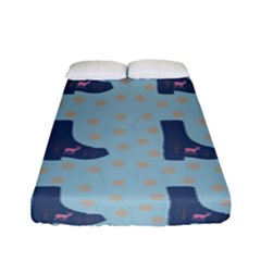 Deer Boots Teal Blue Fitted Sheet (full/ Double Size) by snowwhitegirl
