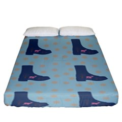 Deer Boots Teal Blue Fitted Sheet (king Size) by snowwhitegirl