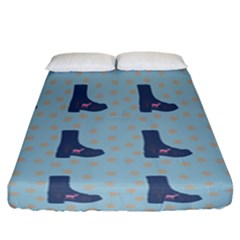 Deer Boots Teal Blue Fitted Sheet (california King Size) by snowwhitegirl
