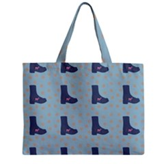 Deer Boots Teal Blue Zipper Mini Tote Bag by snowwhitegirl