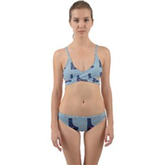 Deer Boots Teal Blue Wrap Around Bikini Set by snowwhitegirl