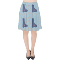 Deer Boots Teal Blue Velvet High Waist Skirt by snowwhitegirl