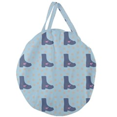 Deer Boots Teal Blue Giant Round Zipper Tote by snowwhitegirl