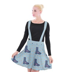 Deer Boots Teal Blue Suspender Skater Skirt by snowwhitegirl