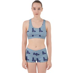 Deer Boots Teal Blue Work It Out Sports Bra Set by snowwhitegirl