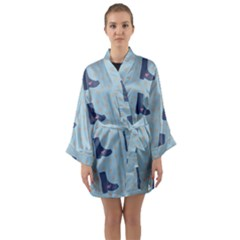 Deer Boots Teal Blue Long Sleeve Kimono Robe by snowwhitegirl
