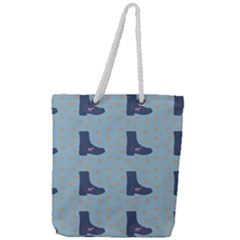 Deer Boots Teal Blue Full Print Rope Handle Tote (large) by snowwhitegirl