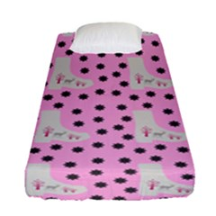 Deer Boots Pink Grey Fitted Sheet (single Size)