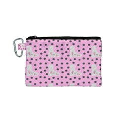 Deer Boots Pink Grey Canvas Cosmetic Bag (small) by snowwhitegirl