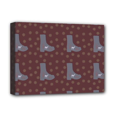 Deer Boots Brown Deluxe Canvas 16  X 12   by snowwhitegirl