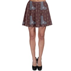 Deer Boots Brown Skater Skirt by snowwhitegirl