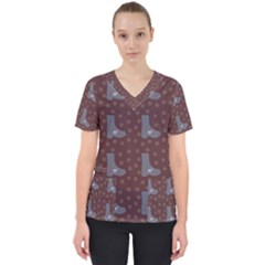 Deer Boots Brown Scrub Top by snowwhitegirl