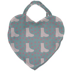 Deer Boots Blue White Giant Heart Shaped Tote