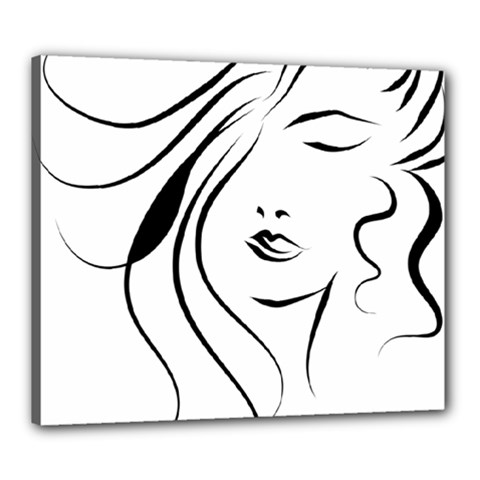 Womans Face Line Canvas 24  X 20
