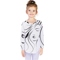 Womans Face Line Kids  Long Sleeve Tee