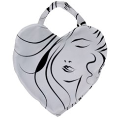 Womans Face Line Giant Heart Shaped Tote by Jojostore