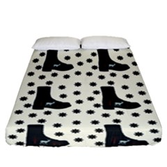 Deer Boots White Black Fitted Sheet (queen Size) by snowwhitegirl