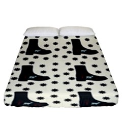 Deer Boots White Black Fitted Sheet (king Size)