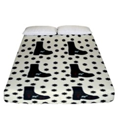Deer Boots White Black Fitted Sheet (california King Size) by snowwhitegirl