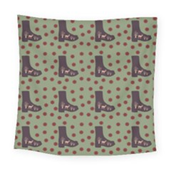 Deer Boots Green Square Tapestry (large) by snowwhitegirl