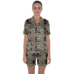 Deer Boots Green Satin Short Sleeve Pyjamas Set by snowwhitegirl