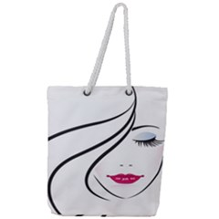 Makeup Face Girl Sweet Full Print Rope Handle Tote (large) by Mariart