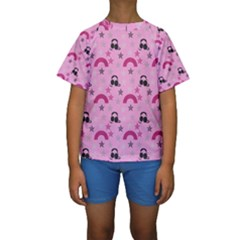Music Stars Rose Pink Kids  Short Sleeve Swimwear by snowwhitegirl