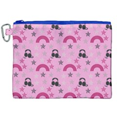 Music Stars Rose Pink Canvas Cosmetic Bag (xxl) by snowwhitegirl